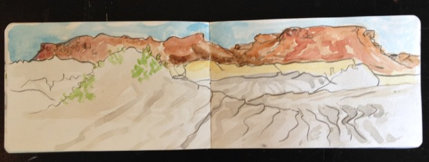 Painted near San Juanico in Baja California, just as the wind was kicking up, this sketch has the added autheniticity of actual sand added to it.