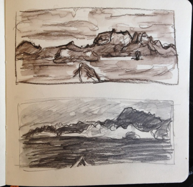 Some thumbnail sketches of Isla Danzante