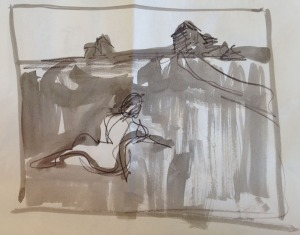 A one-minute gesture drawing of Wyeth's Christina's World in ink and pencil