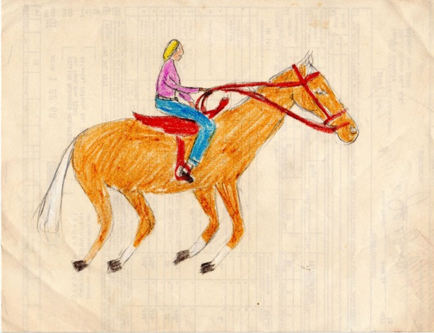 Horse by the author, circa 1970's. Crayon on found office paper.